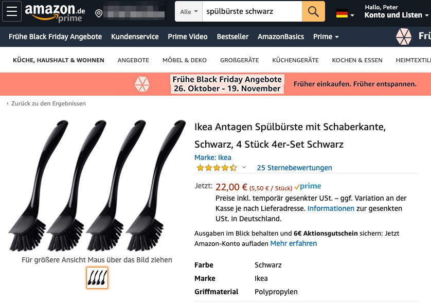 Ikea-Spülbürsten bei Amazon
